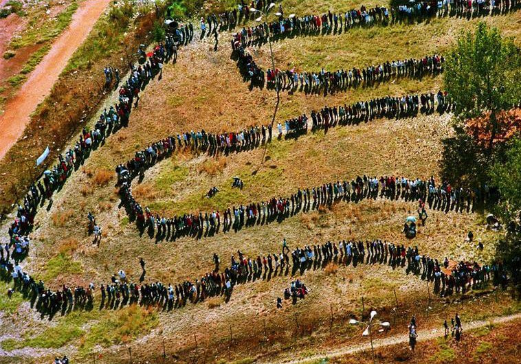 Aerial view of long, winding line of voters.