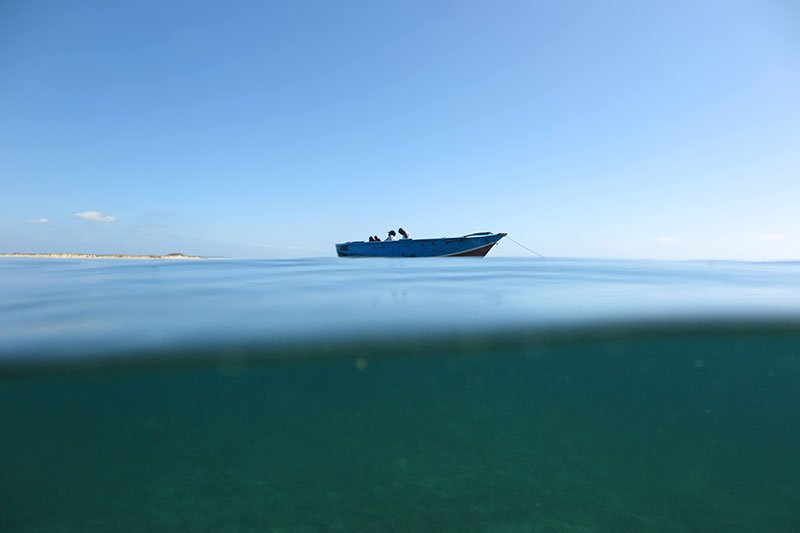 A boat out at sea.
