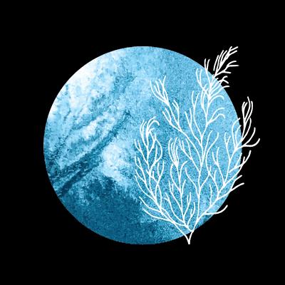Circular watercolour illustration of coral.