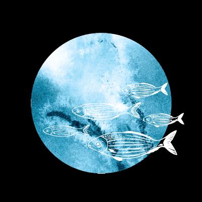 Circular watercolour illustration of fish.